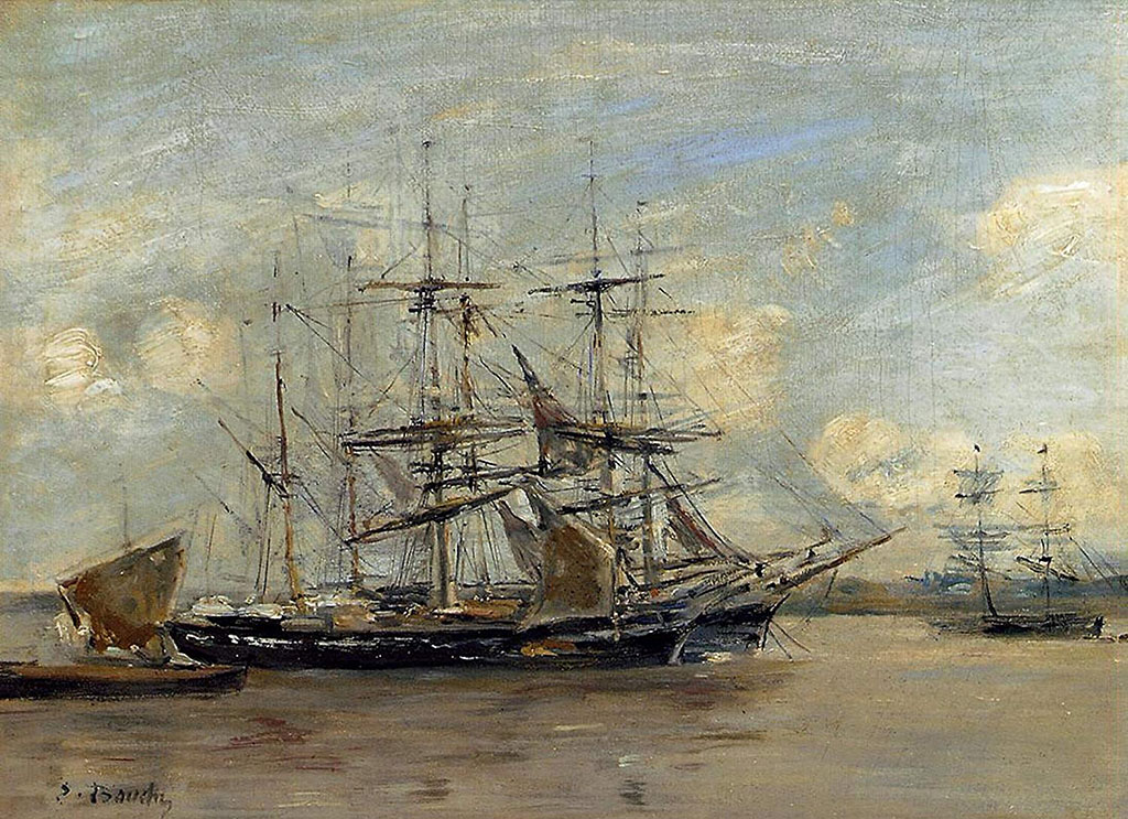 1879 Eugene Boudin - Le Havre, Three Master at Anchor in the Harbor