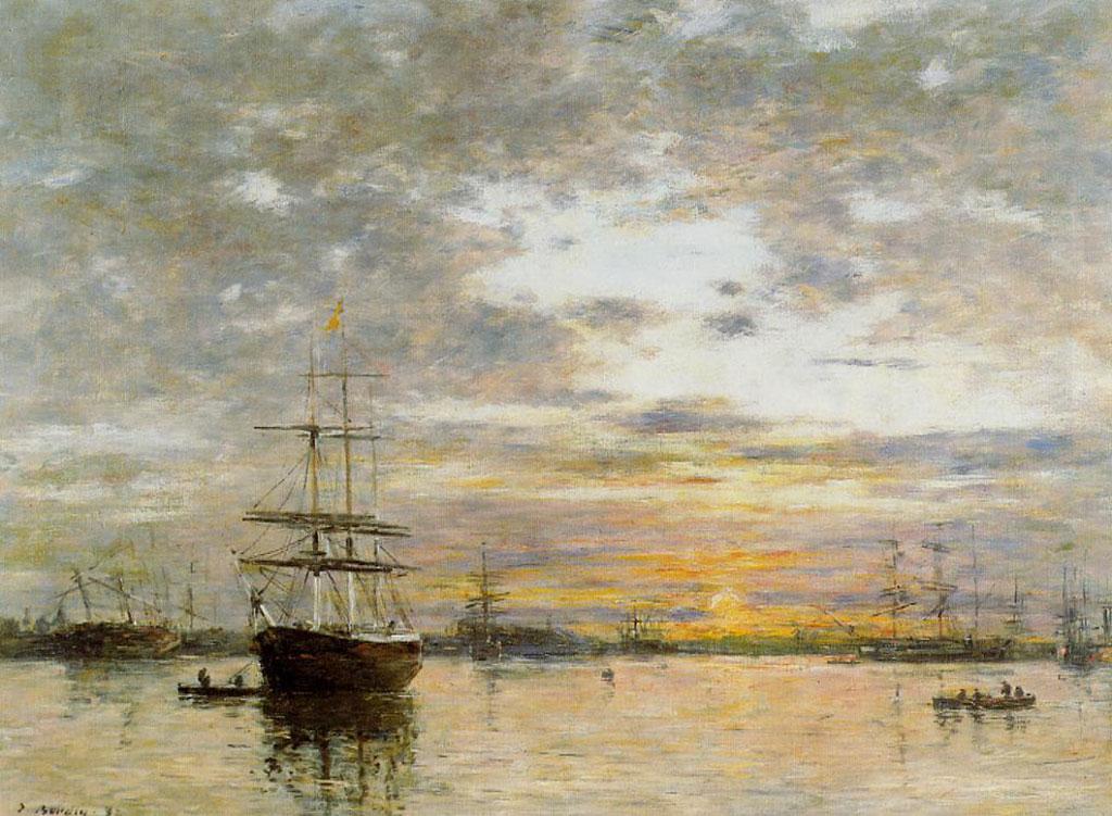 1882 Eugene Boudin - The Port of Le Havre at Sunset