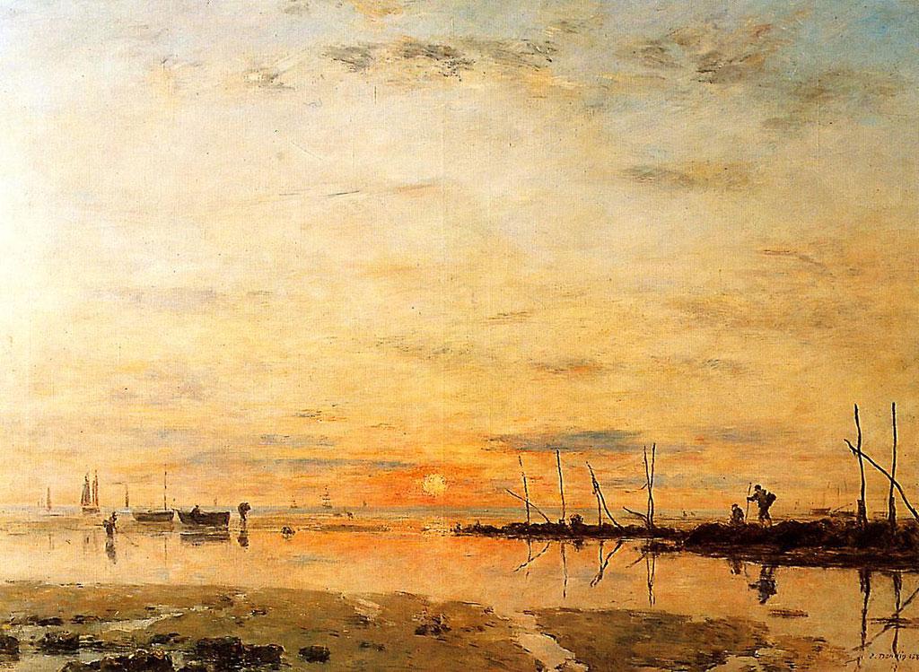1884 Eugene Boudin - Le Havre, Sunset at Low Tide