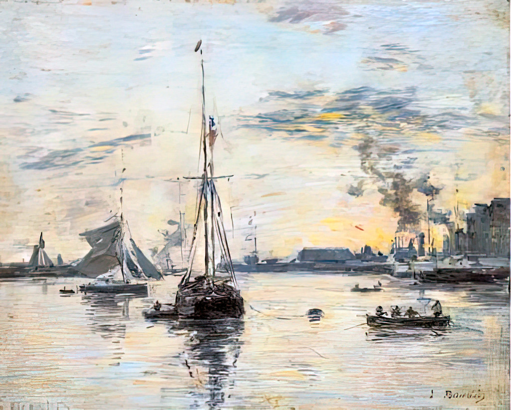 1888 Eugene Louis Boudin - Le Havre. The outer harbor