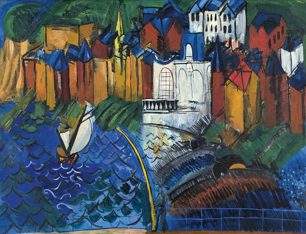 1912 Raoul Dufy - The Casino at Sainte-Adresse with Fishing Boats