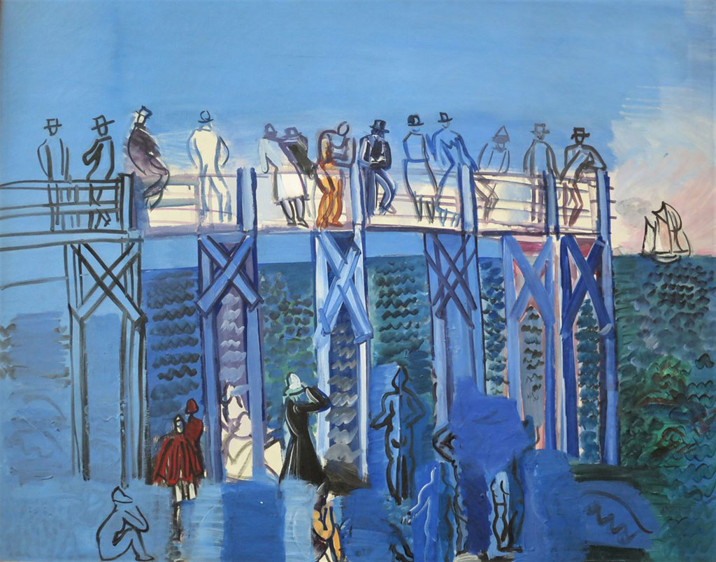 1926 Raoul Dufy - The Pier and the Beach at Le Havre