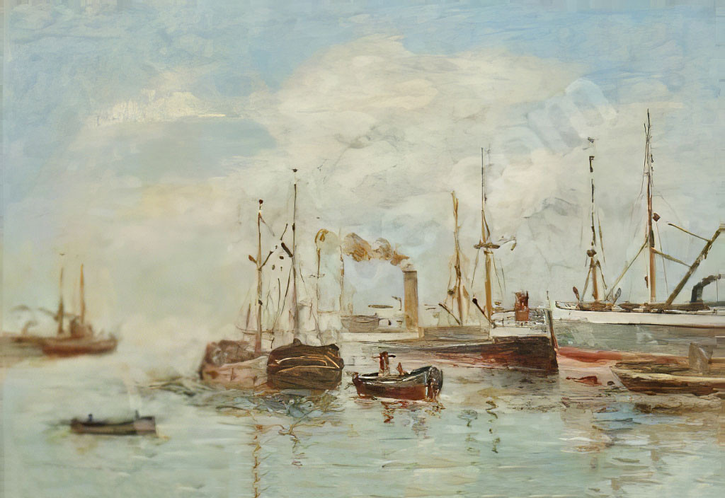 ???? Charles Pecrus - Steam and Sail Ship in the Basin of Le Havre