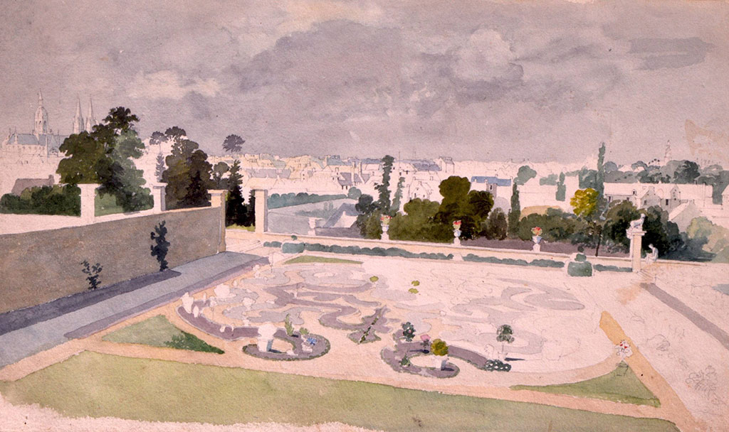 ???? Thomas Boys - A Formal walled Garden in Bayeux with Bayeux Cathedral beyond