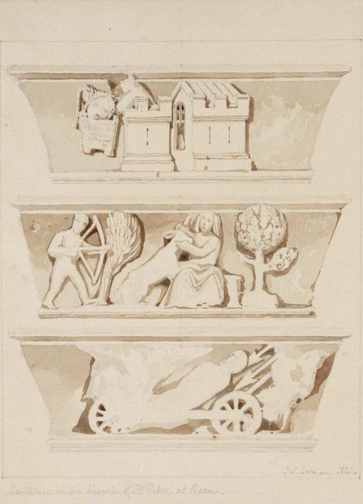 John Cotman 1821 - Sculpture in the Church of St-Peter