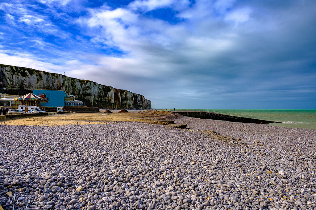 Pebble beach of Le Treport in Normandy