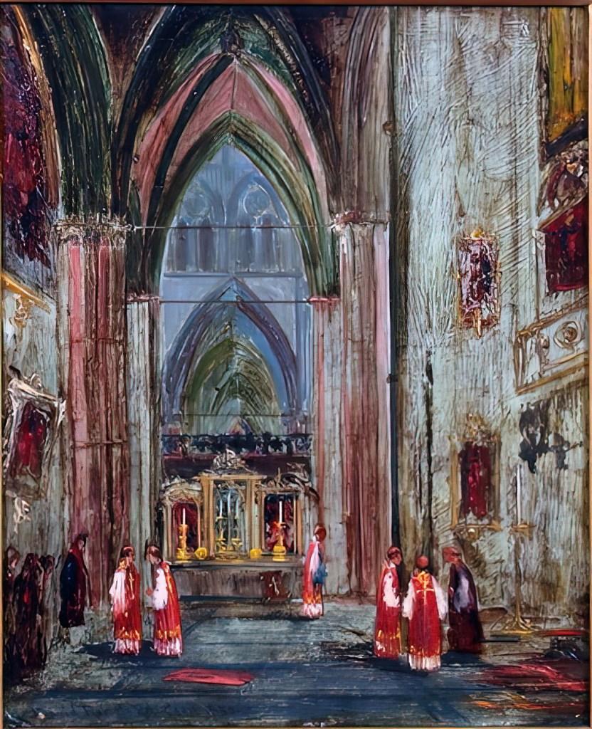 1850 - David Roberts - Caen, Cathedral interior