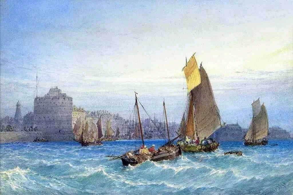 1877 William Callow - Fishing boats waiting for the tide, Port of Le Havre