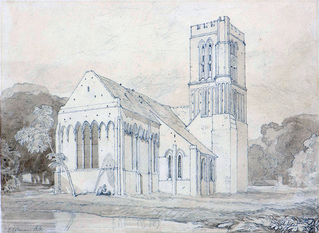 1818 - John Sell Cotman - The Church of St-Pierre at Hermanville-sur-Mer, Normandy