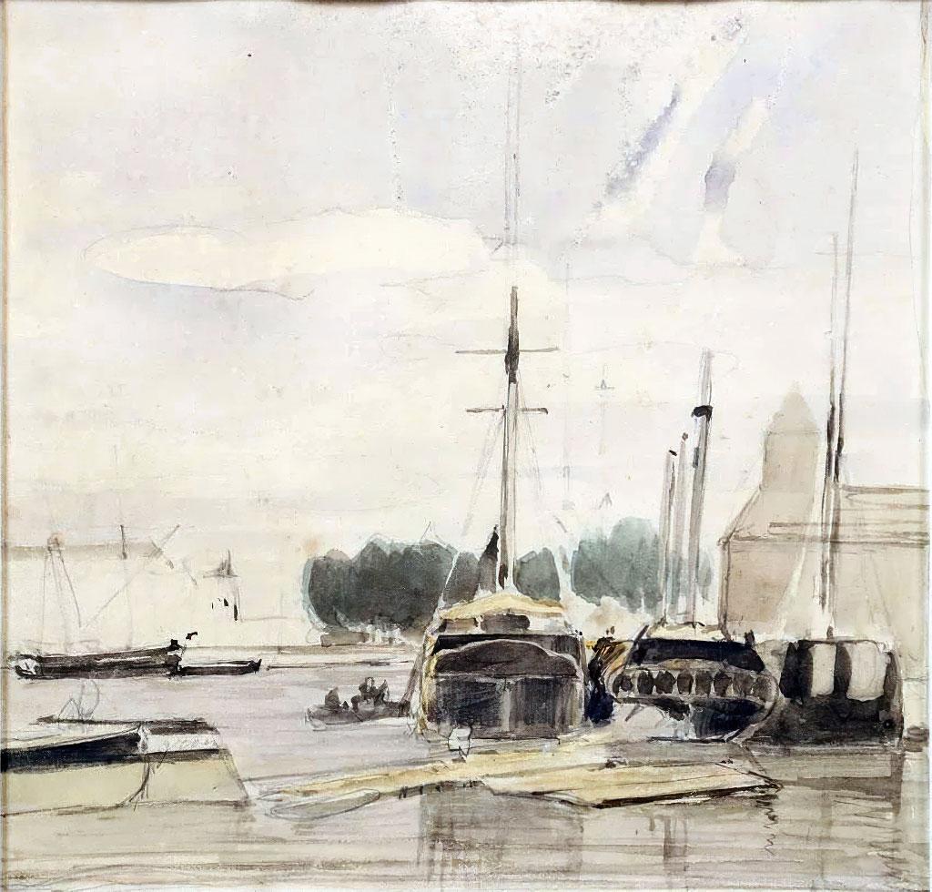 ???? - Johan Jongkind - Caen Harbor Scene