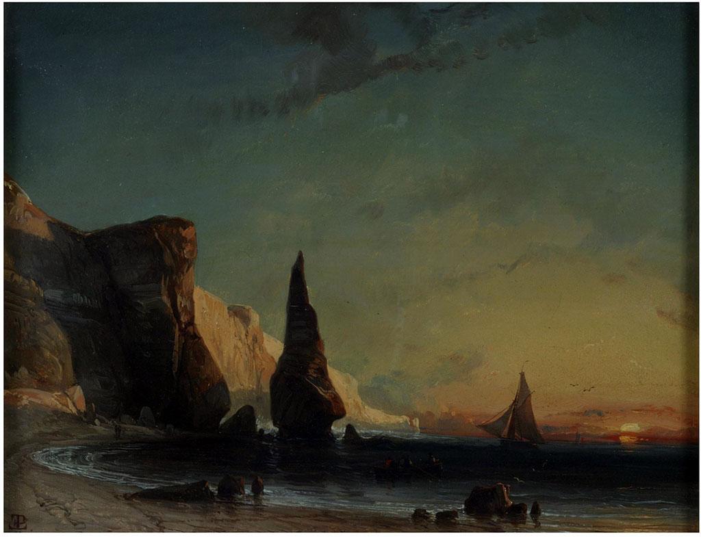 1839 - Eugene Lepoittevin - Rocky Coast near Le Havre, Sunset
