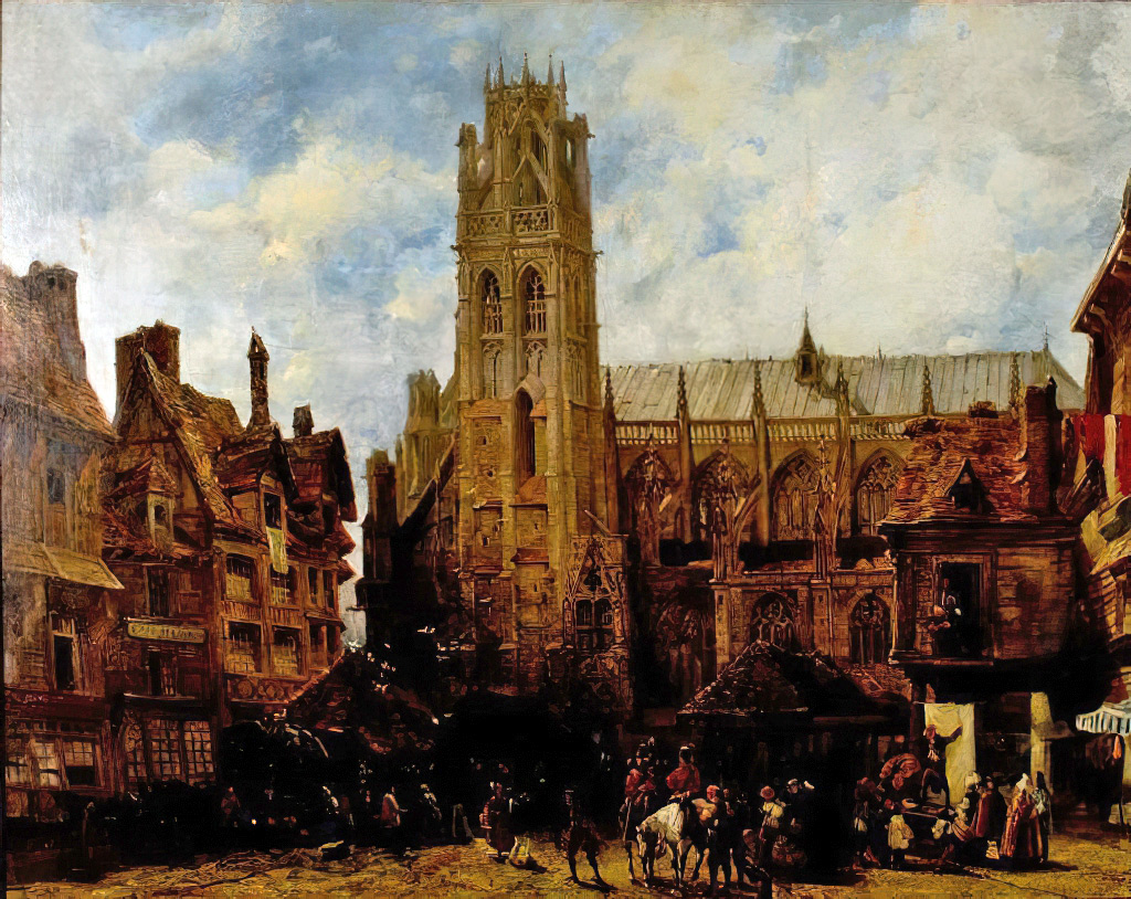 1824 - Richard Parkes Bonington - Cathedral of Notre Dame and Market Place at Caudebec-en-Caux