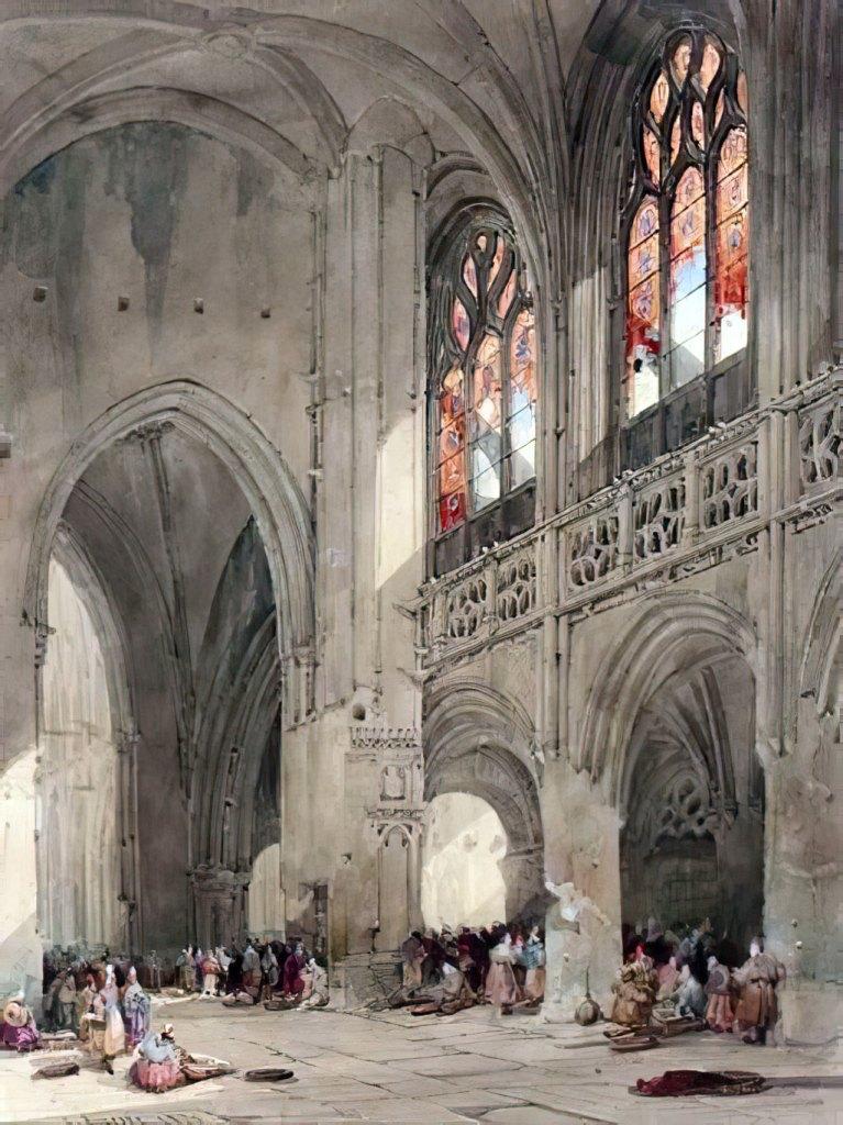 ???? - David Roberts - The Interior of the Saint-Saveur Church, Caen