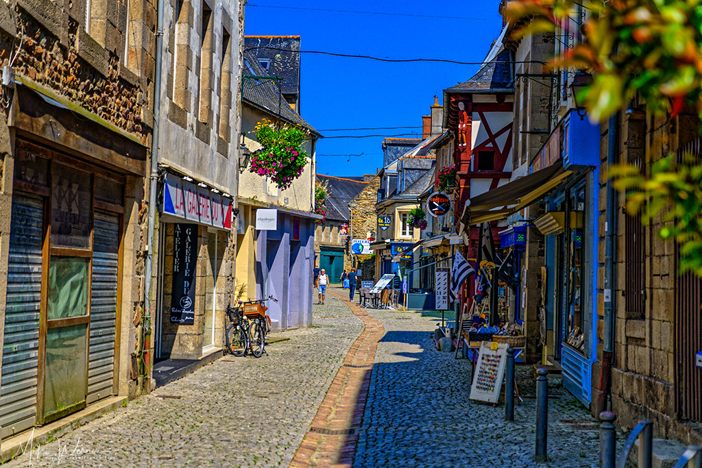 Street and shops in Paimpol, Brittany