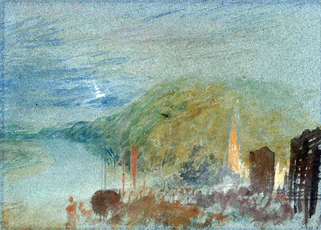 1832 - Joseph Mallord William Turner - Caudebec-en-Caux from Above,A Study by Moonlight