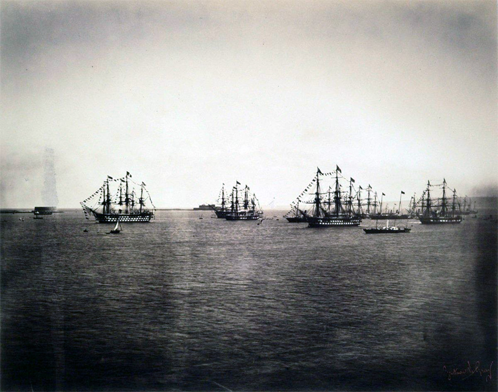 1858 - Le Gary - English fleet in Cherbourg harbor, arrival of Queen Victoria and Prince Albert of England aboard the royal yacht
