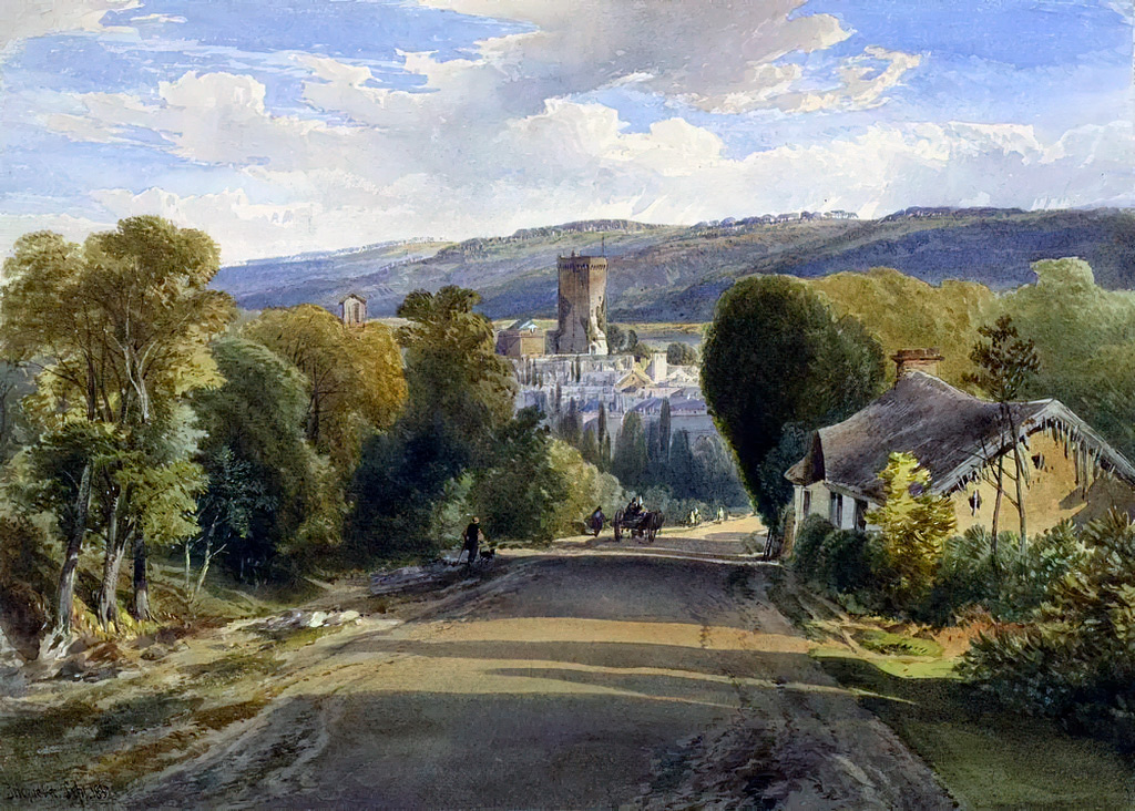 1857 - Richard Leitch - View of Bricquebec, Normandy