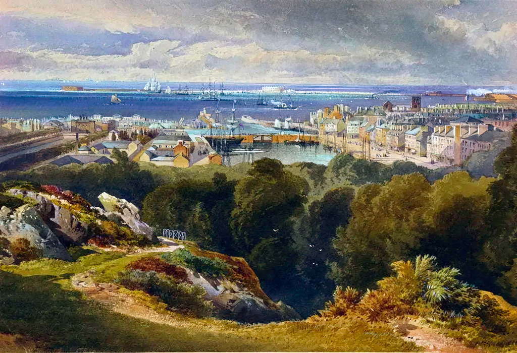 1857 - Richard Leitch - View of Cherbourg with Fort Querqueville