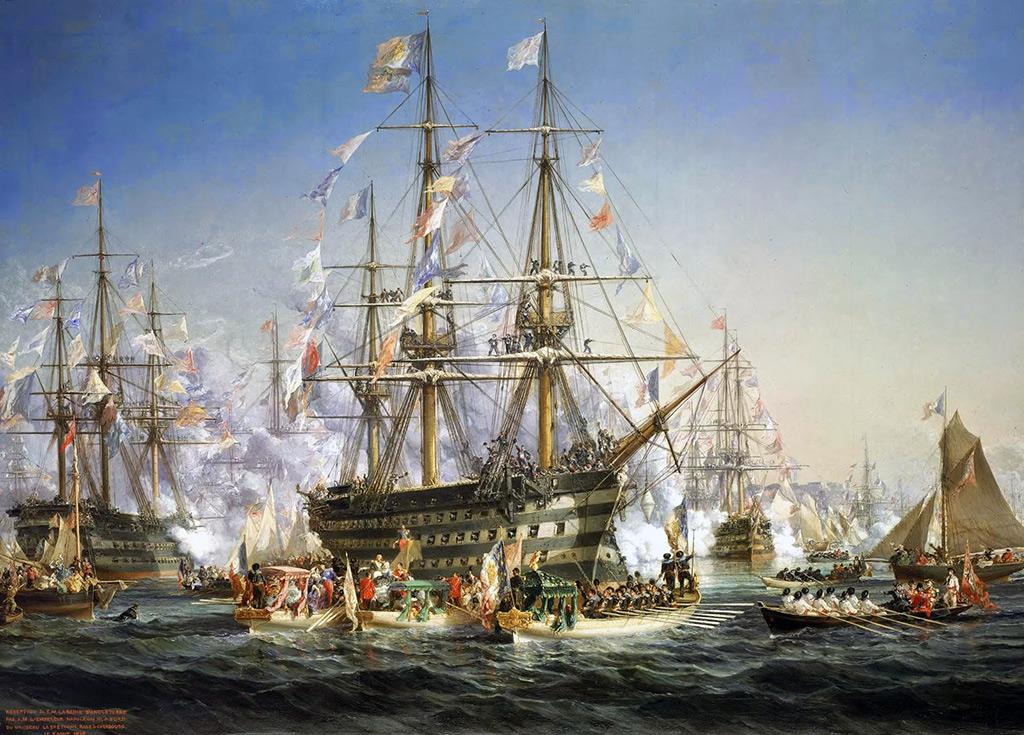 1858 - Jules Achille Noel - Napoleon III receiving Queen Victoria at Cherbourg, 5 August 1858