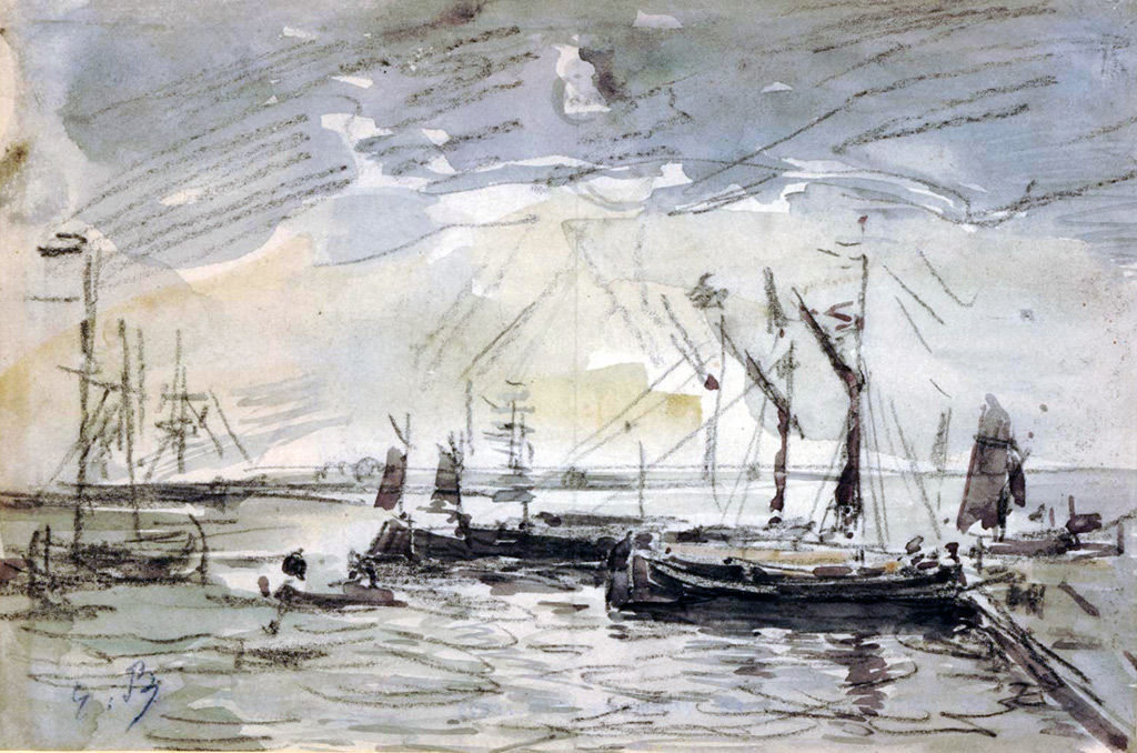 ???? - Eugene-Louis Boudin - Barges on water