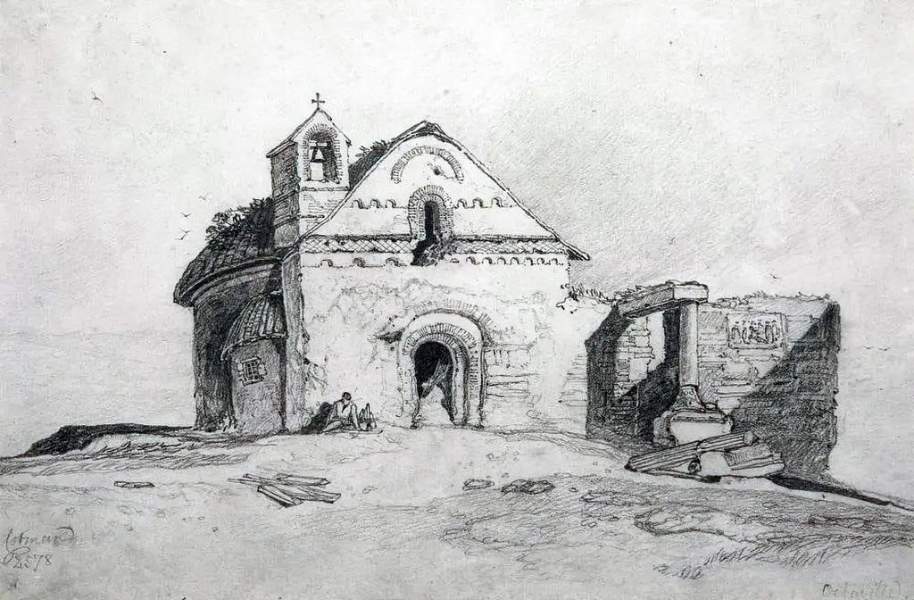 1810 - Cotman - Romanesque Church, Octeville, France