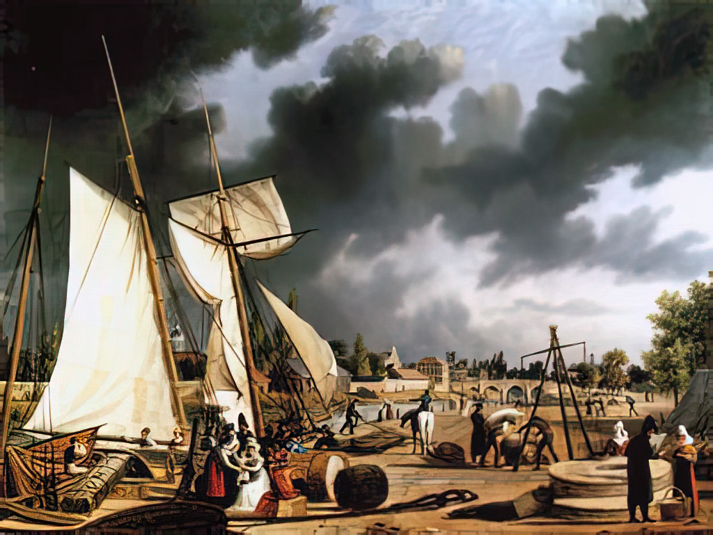 1825 - Ambroise Louis Garneray - View of the port of Caen taken from the Quai de Vaucelles