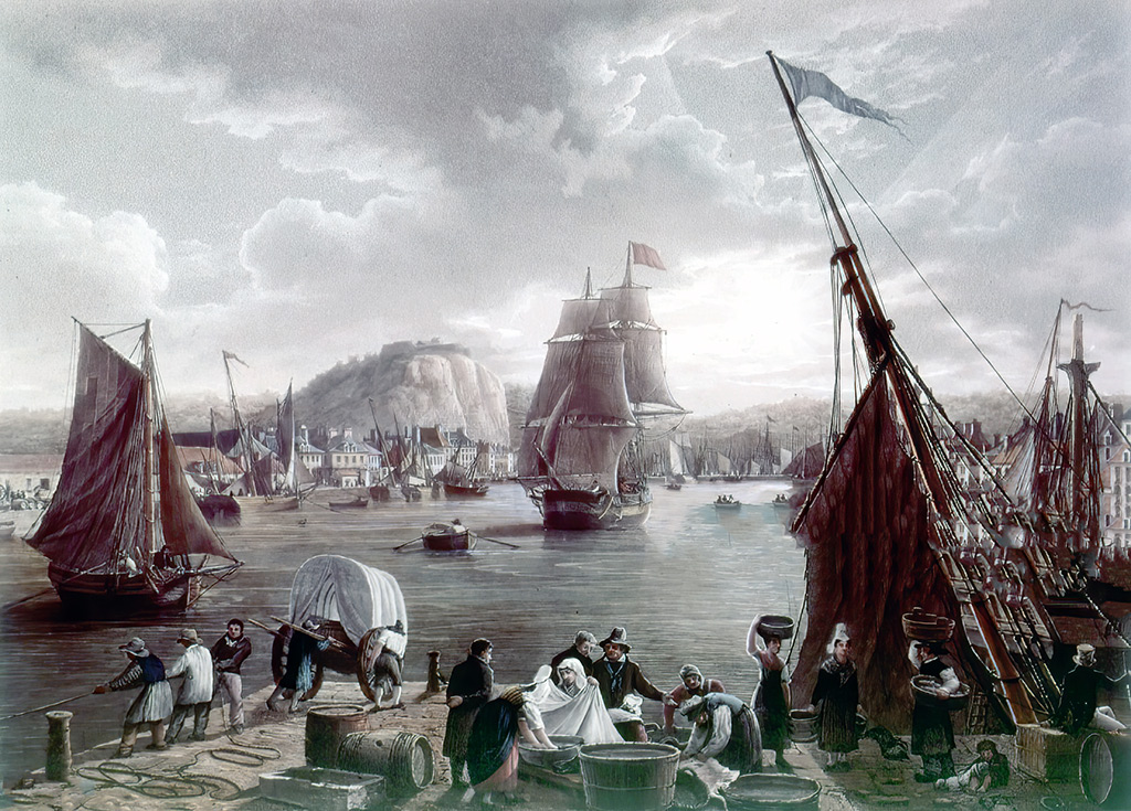 1842 - Ambroise Louis Garneray - View of the port of Cherbourg, taken at the entry of the old Port