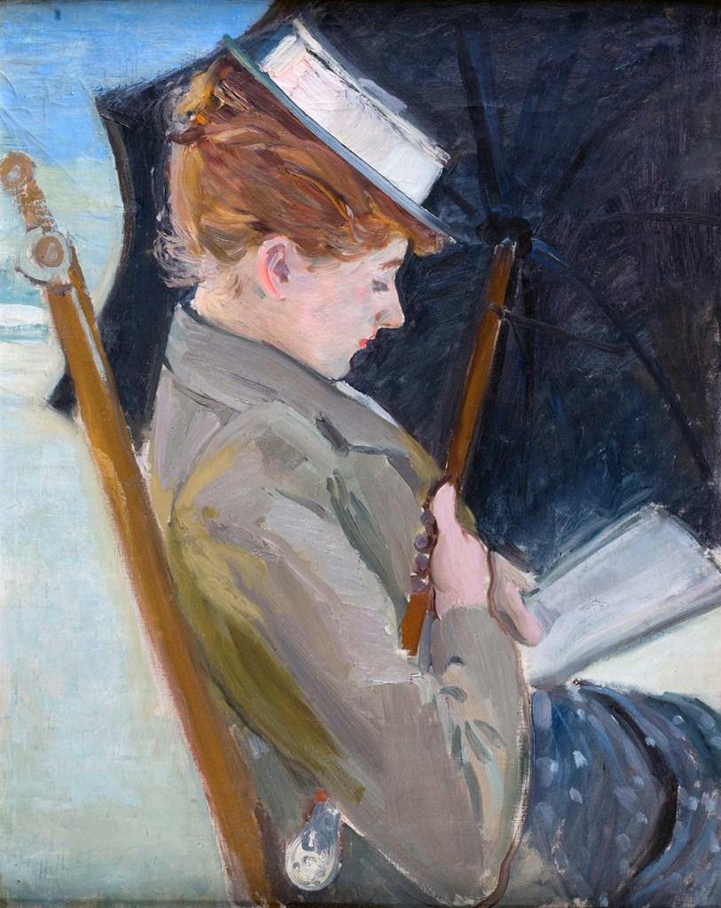 1896 - Paul Cesar Helleu - Alice Helleu reading on the Beach of Deauville