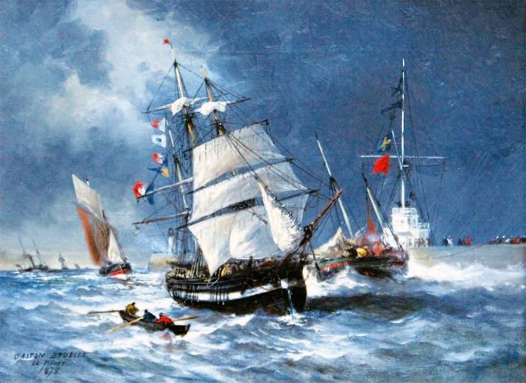 1878 - Gaston Bruelle - Sailboat passing the semaphore in Le Havre