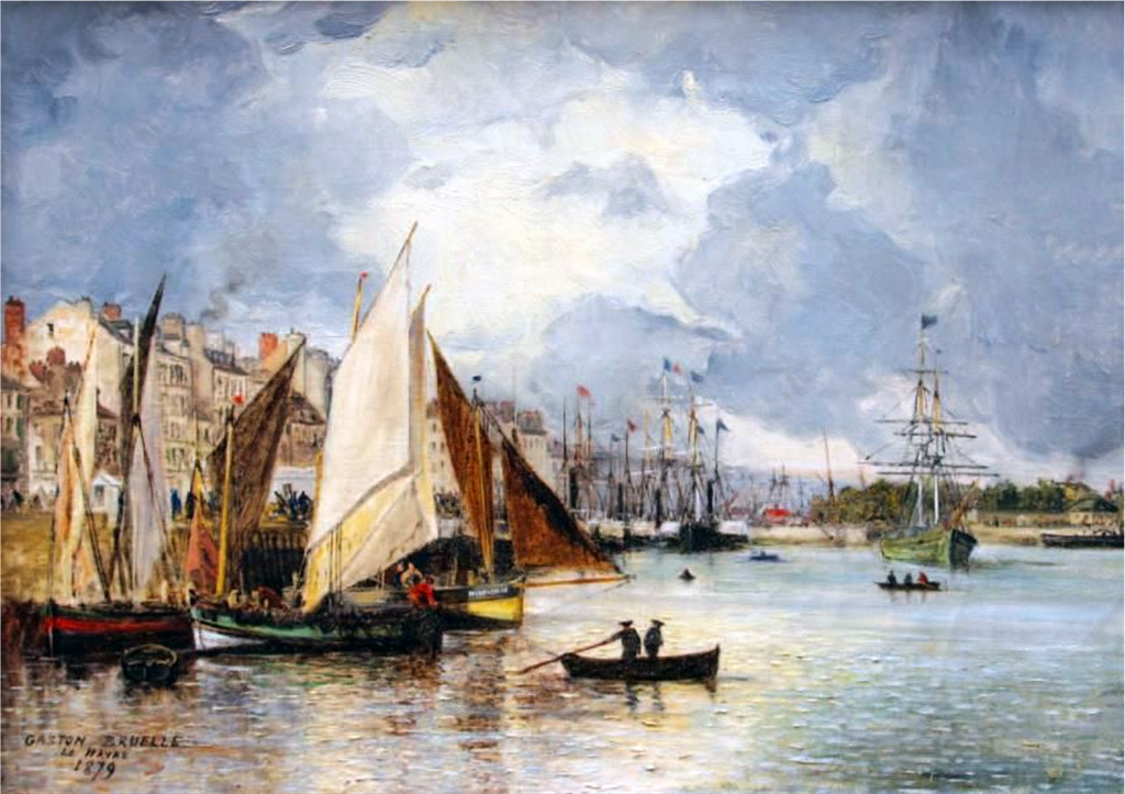1879 - Gaston Bruelle - Sailboats and fishing boats in the port of Le Havre