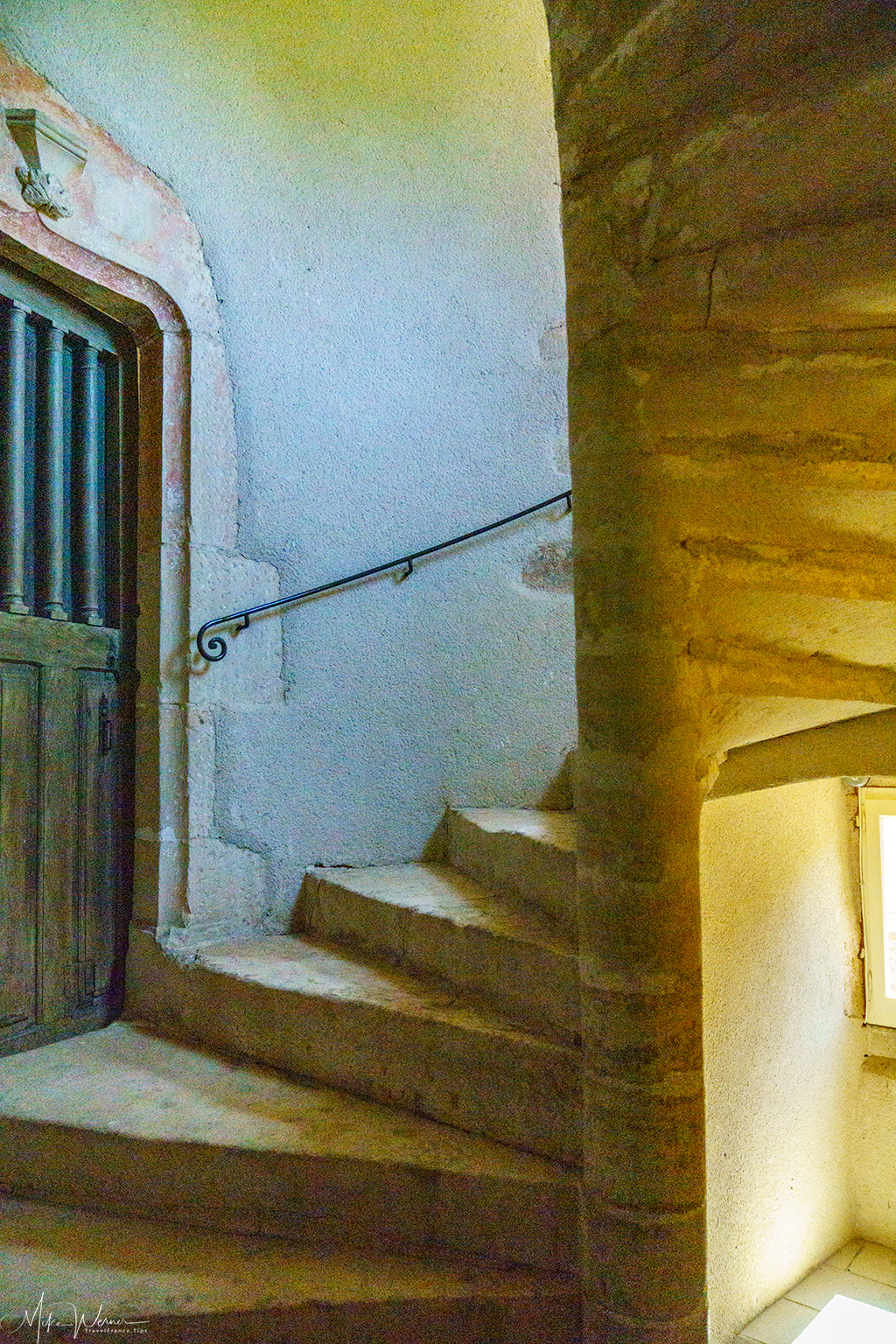 Stairs inside the round turret of the Balleure castle