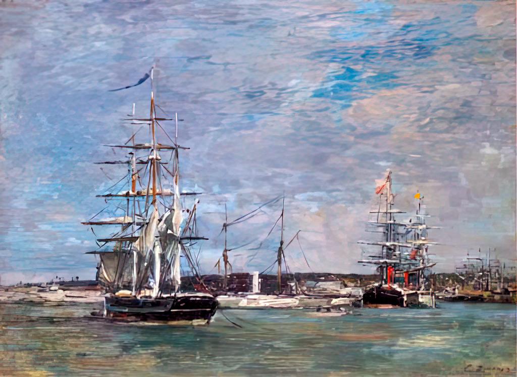 1864 - Eugene Louis Boudin - Le Havre. A Basin