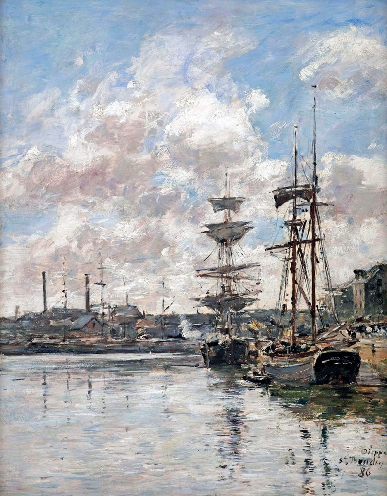 1886 - Eugene Louis Boudin - Dieppe. Boat at quay