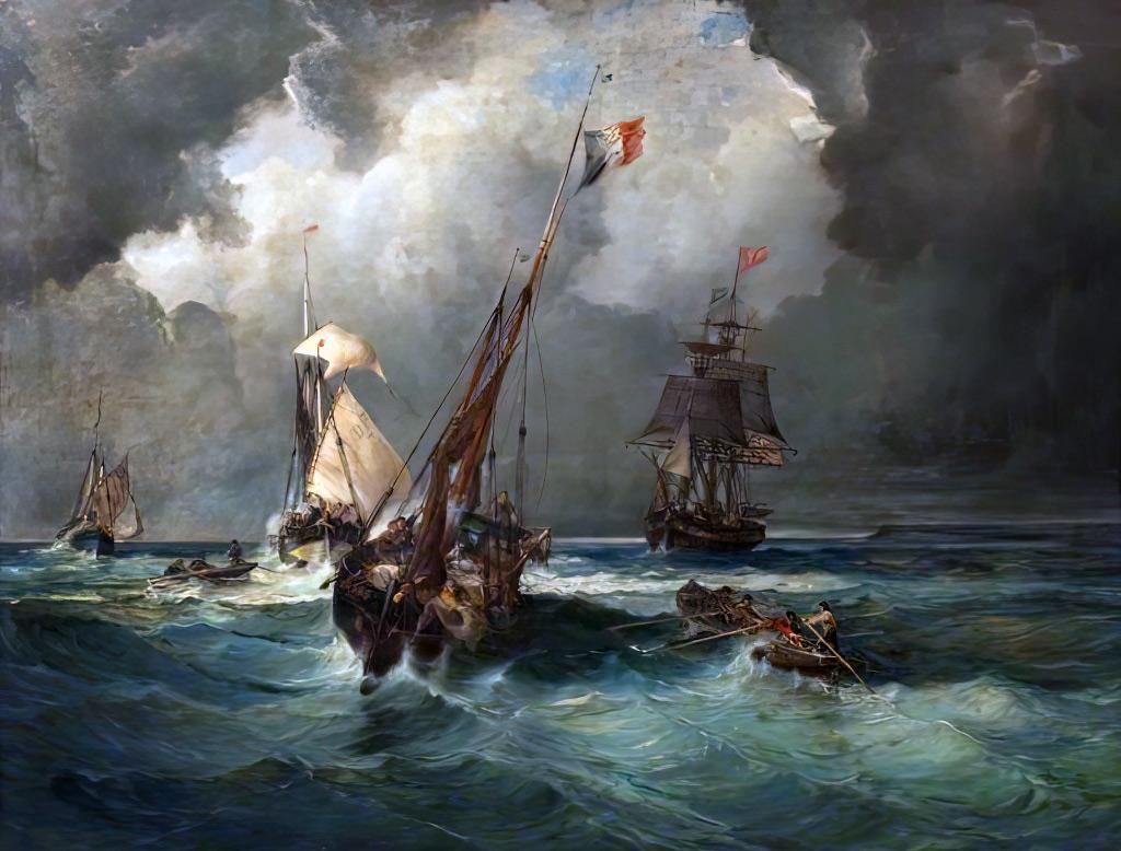 ???? - Gaston Bruelle - Dieppe Pilots Leading a Swedish Barque into Port