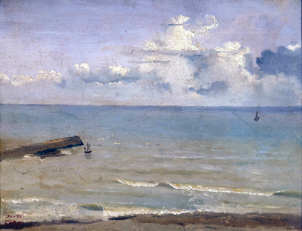 1822 - Jean-Baptiste Camille Corot - Dieppe, End of a Pier and the Sea