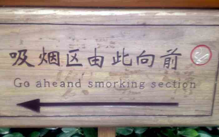 "A hilarious Chinglish sign that says ""Smorking Section"""