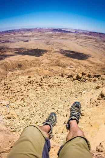 Hanging off the edge of the Ramon Crater