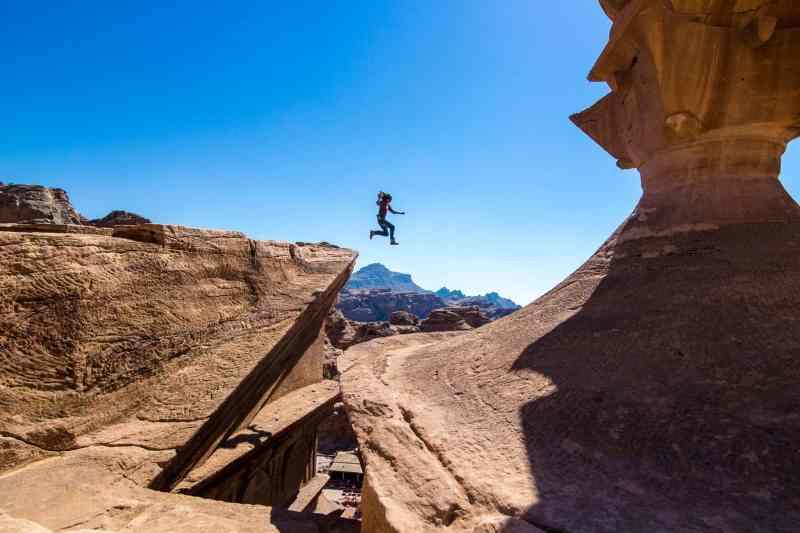 Free Climbing The Monastery In The City Of Petra Jordan