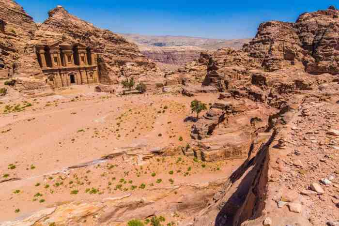 View of the Monastery from above, City of Petra, Jordan