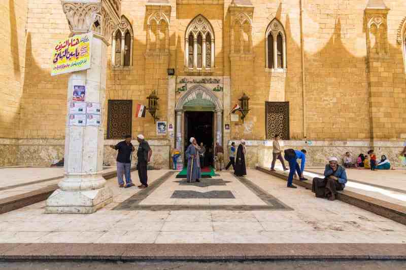 Outside the El-Hussein Mosque in Cairo, Egypt.