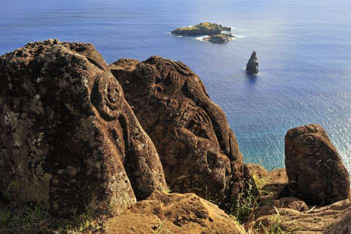 Bird Man Island and Polynesian carvings on Easter Island, Chile