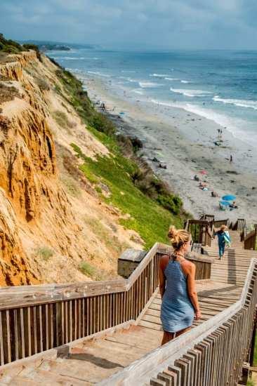 Coastline in Encinitas, California along the Pacific Coast Highway