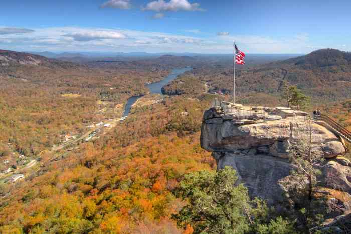 Make it to the top of the hike at Chimney Rock