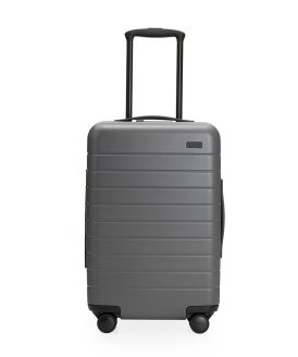 The Away Carry-On has a rugged outer shell.