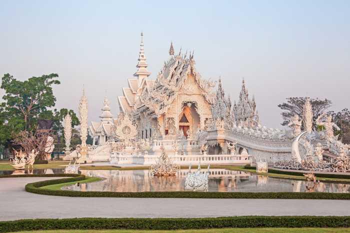 White Temple (Wat Rong Khun) at sunrise. Chiang Rai.