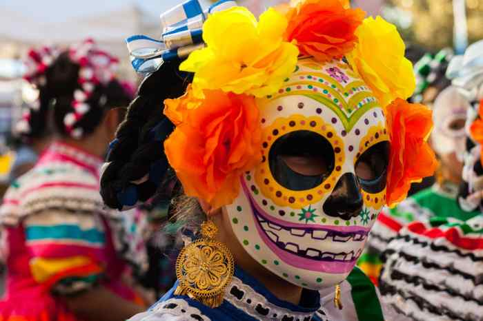 A person dressed up for Day of the Dead in Mexico