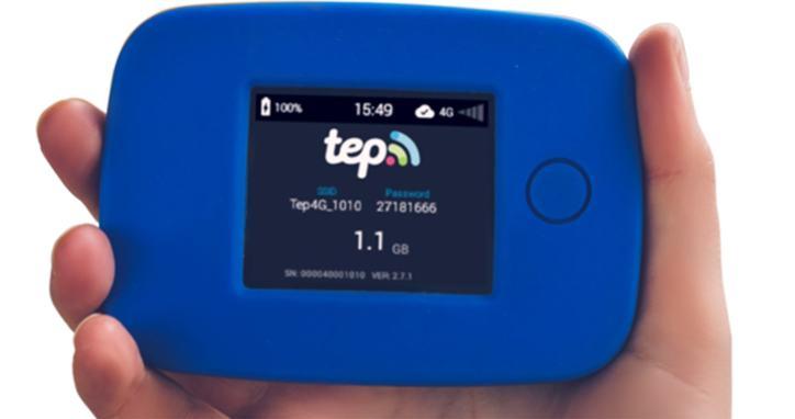Hand holding a Tep Wireless International Hotspot device