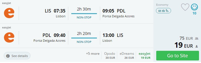 flights from portugal to azores