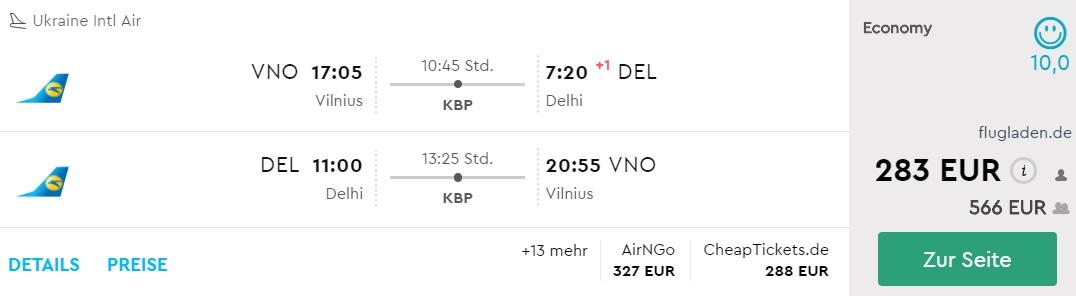 vilnius delhi flights