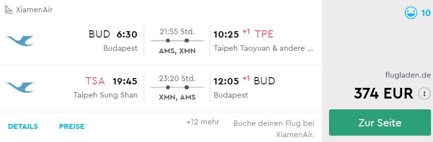 cheap flights budapest taiwan